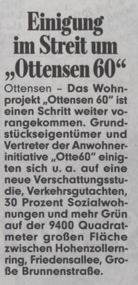 """Bild, 8. Juli 2015 S.10 Einigung im Streit um """"Ottensen 60"""""""