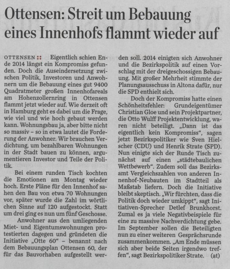 Hamburger Abendblatt 8. Juli 2015 S.12 Streit um Bebauung eines Innenhofs flammt wieder auf
